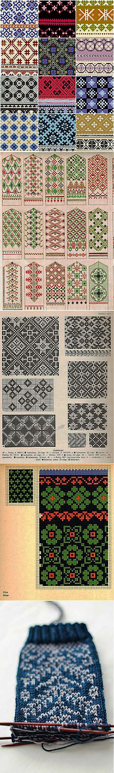 Latvian mitten patterns. | ВЯЗАНИЕ