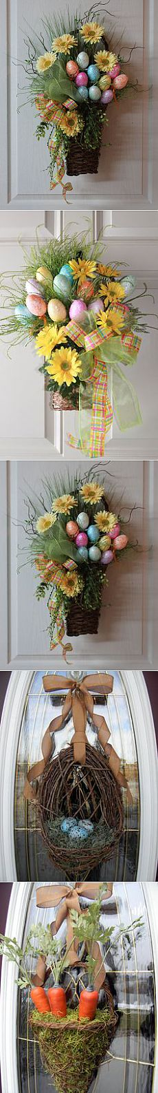 Lg. Easter Basket, Sparkly Colorful Easter Eggs, Yellow Daisies, Twigs, Vines, Grasses